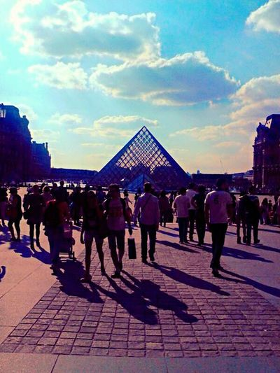 Large Group Of People Sky Building Exterior Real People People Adults Only Architecture City Men Outdoors Adult Togetherness Military Only Men Day Paris, France  Louvre, Paris. I.M. Pei Glass - Material Triangle View Travel