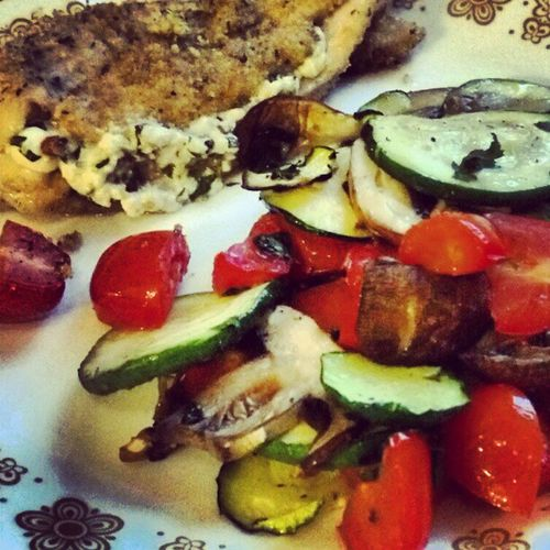 Herb and goat cheese stuffed chicken with roasted vegetables Iamawoman