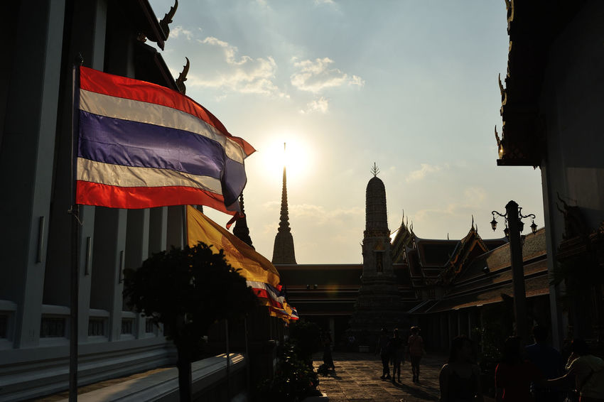 Architecture Building Exterior Built Structure Flag Flags In The Wind  Thailand