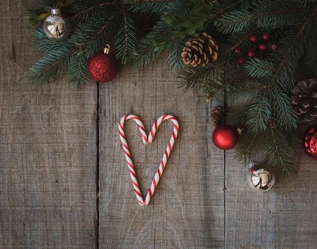 Heart shape on christmas tree