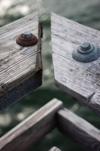 Just barely meeting. Close-up Deterioration Focus On Foreground Nature Old Plank Wood - Material Wooden