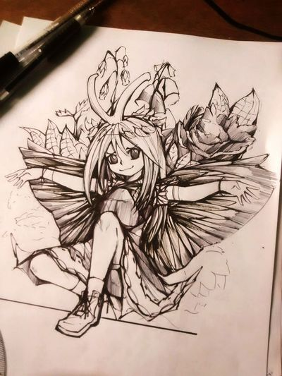 Etarnity Larvae, Touhou new character Sketch Paper Creativity Sketch Pad Indoors  Ink Touhou Touhou Project First Eyeem Photo
