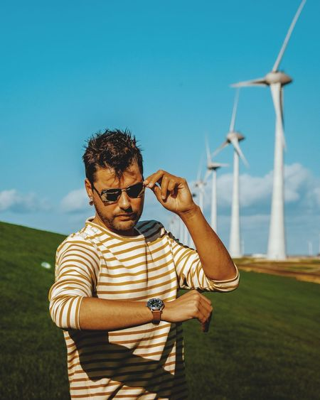 Men Clock Watch Watches Mensfashion Man Fashion Model Casual Clothing Looking Childhood Boys Standing Sky Casual Clothing Windmill Environmental Conservation Mill Fuel And Power Generation Wind Turbine Renewable Energy Traditional Windmill Wind Power Industrial Windmill Turbine