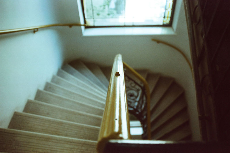 High angle view of staircase in building