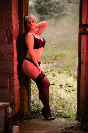Raining One Person Full Length Women Young Adult Young Women Beauty Clothing Beautiful Woman Day Portrait Real People Window Door Architecture Entrance Casual Clothing Outdoors Brick Lingerie