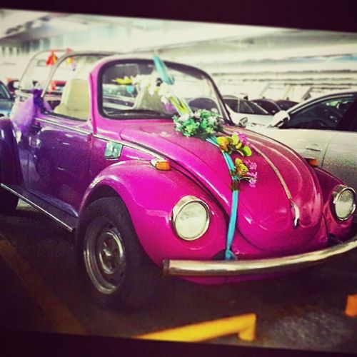 Pink Car For Love Bride And Groom Happily Ever After