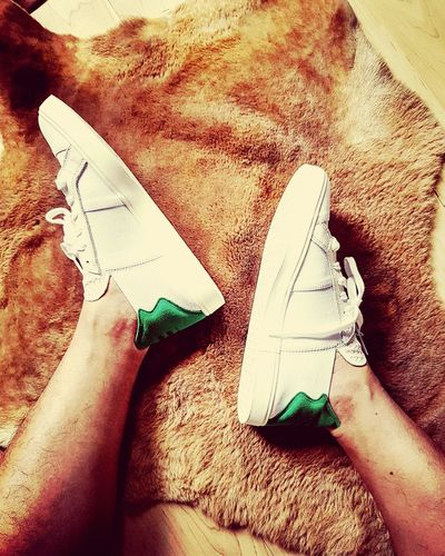 The 3 white stripes meet the green hue. Hanging Out Hello World That's Me Sneakers Adidas Pharrell Williams Summer Collection Streetstyle Streetwear Fashion Trendsetter Trendstagram Style And Fashion Fashionphotography Menswear Photooftheday Instagrammer Instadaily Eyembestshots Hairylegs  Walking Shoes