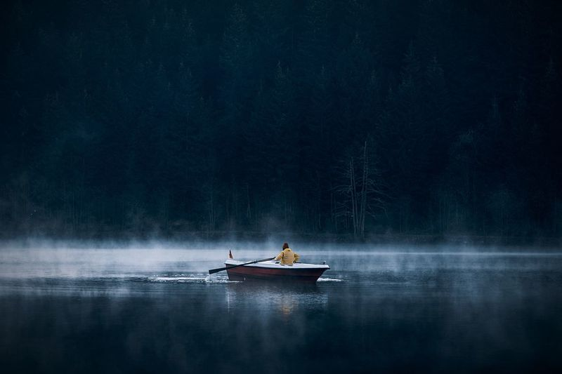 Peaceful mornings Landscape Earth EyeEmNewHere Water Lake Beauty In Nature Nautical Vessel Men Nature Transportation One Person Mode Of Transportation Scenics - Nature Reflection Fog Night Tranquility Non-urban Scene Fisherman Outdoors My Best Photo