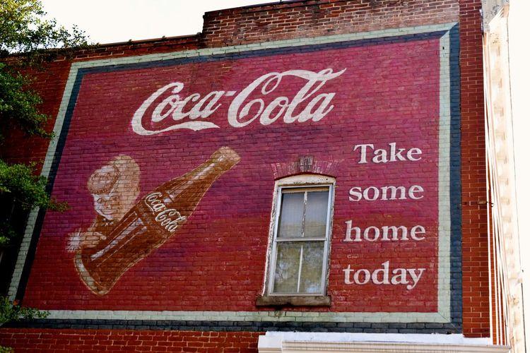 Coca-Cola ❤ Vintage Style Architecture Built Structure Coca-cola Cocacola Communication Low Angle View No People Text Vintage Vintage Coca-cola Western Script
