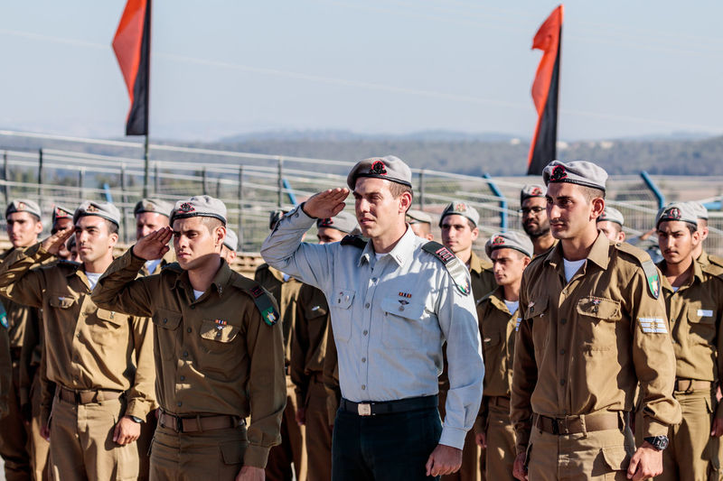 Nahariya, Israel, June 29, 2017 : Soldier of the IDF salute at the evening formation in Nahariya, Israel Army Battle Ceremony Day Defense Education Force Idf Israel Defense Forces Israeli Jewish Military Outdoors Parade Patriotism People Professional Protection Service Soldier Training Uniform War Warrior Weapon