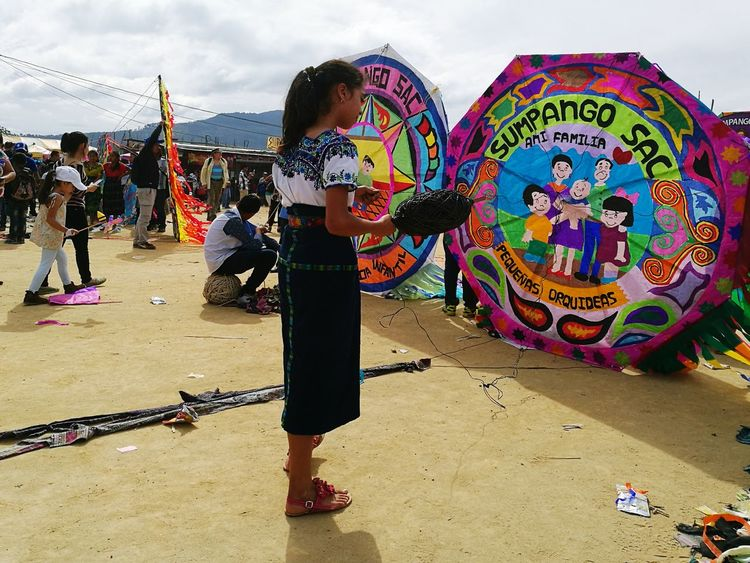 Guatemalacolors Multi Colored Day People Flying A Kite