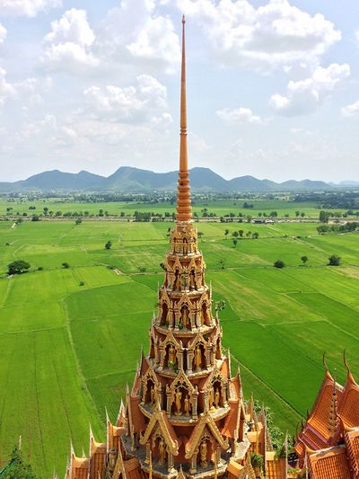 Pinnacle Mountain Hills Farm Field Buddhist Temple Buddhist Architecture Place Of Worship Place Of Prayer Pagoda Sky Cloud - Sky Plant Nature Landscape Built Structure Green Color No People Architecture Scenics - Nature Beauty In Nature Day Travel Destinations Environment Mountain Outdoors Rural Scene Grass Travel Tree