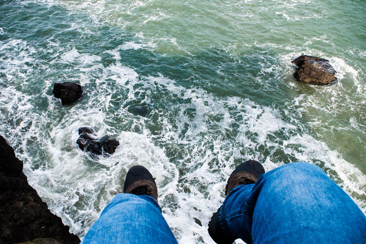 Adult Adults Only Day High Angle View Human Body Part Human Leg Lifestyles Low Section Men Nature Outdoors People Personal Perspective Real People Sea Standing Water