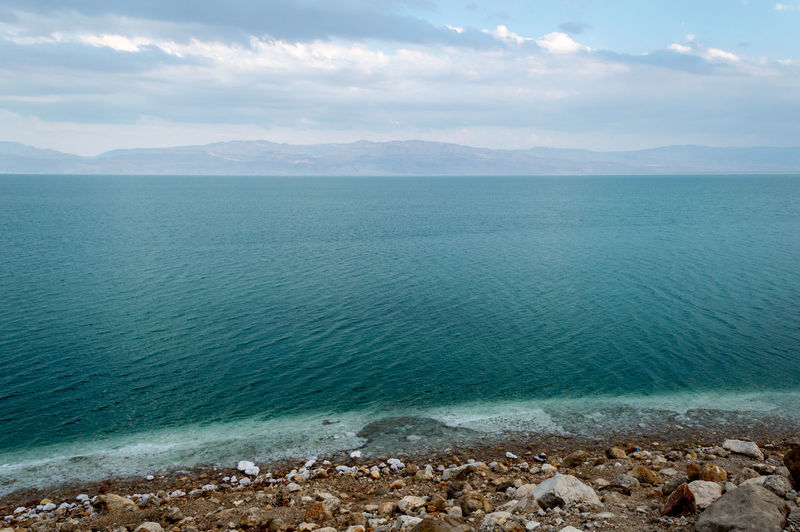 Israel Rock Horizon Over Water Horizon Day Idyllic Land Nature Tranquil Scene Beach Tranquility Cloud - Sky Scenics - Nature Beauty In Nature Sea Water Dead Sea  Totes Meer Salz