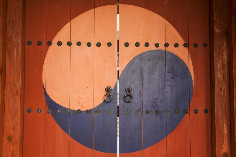 Closed wooden door of temple
