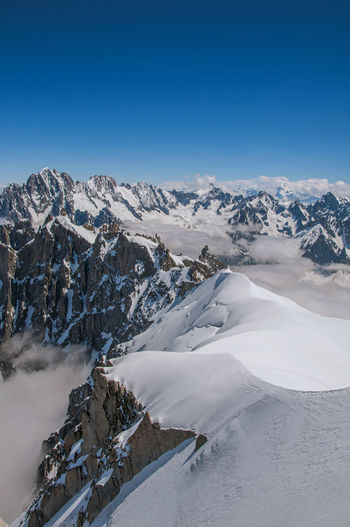 Snowy peaks and mountains in a sunny day, viewed from the aiguille du midi, near chamonix, france.