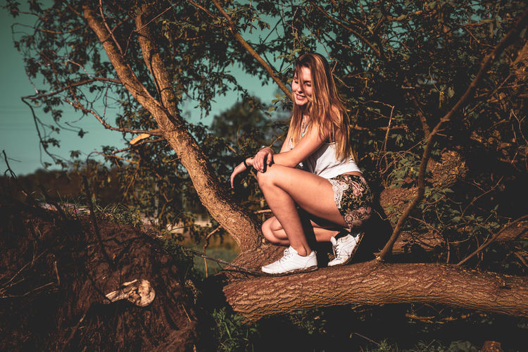 Beautiful Woman Casual Clothing Contemplation Day Forest Full Length Hair Hairstyle Land Leisure Activity Lifestyles Looking Nature One Person Outdoors Plant Real People Sitting Tree Women Young Adult Young Women