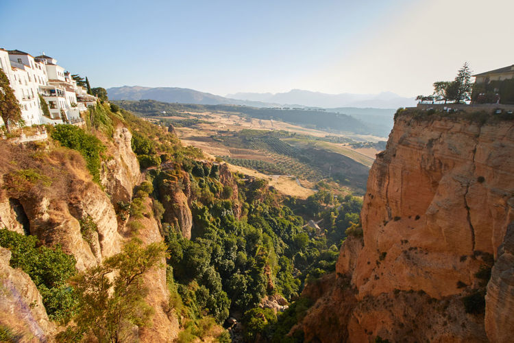 View of Ronda SPAIN Spaın Andalucía Andalusia Mountain Rock Landscape Nature Rock Formation No People Cliff Travel Destinations Rock - Object Scenics - Nature Ronda View Sunset Europe Valley Village