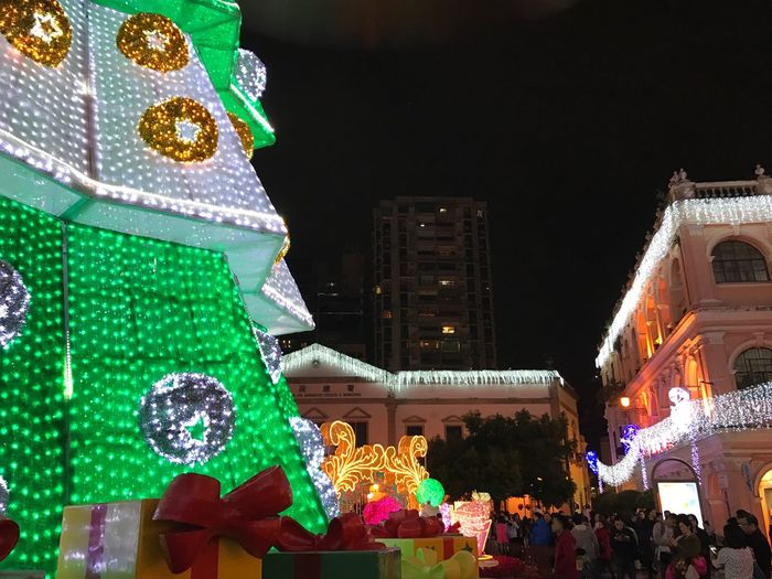 christmas Largo Do Senado Macau Night Illuminated Celebration Christmas Architecture Building Exterior Holiday Christmas Decoration