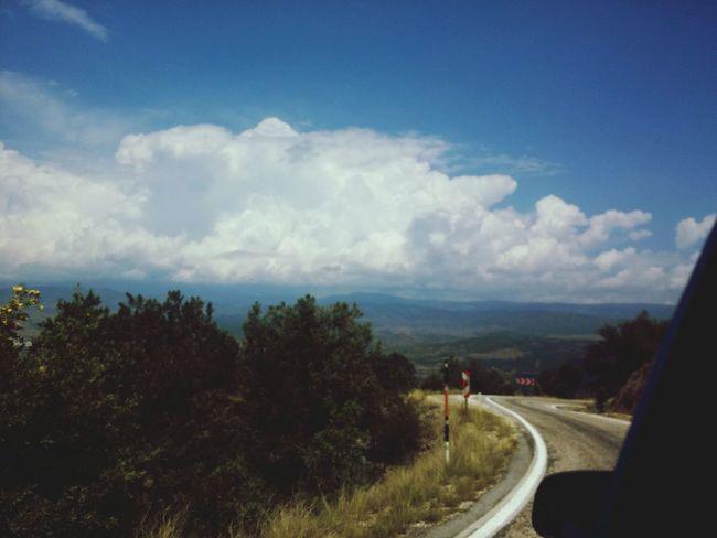 Tree Road Curve Sky Cloud - Sky Landscape