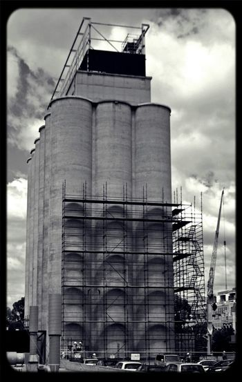 Silos at porsche Melbourne are coming down. great Shadows from the Scaffolding