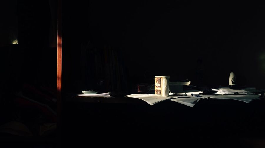 Table Copy Space Indoors  No People Illuminated Paper Night