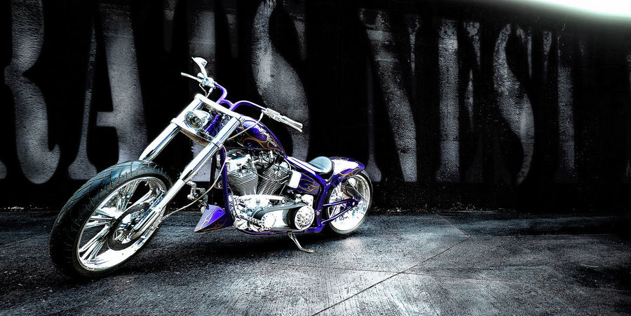 After Rain Custom Motorcycle Day Harley Davidson No People Outdoors Purple Transportation