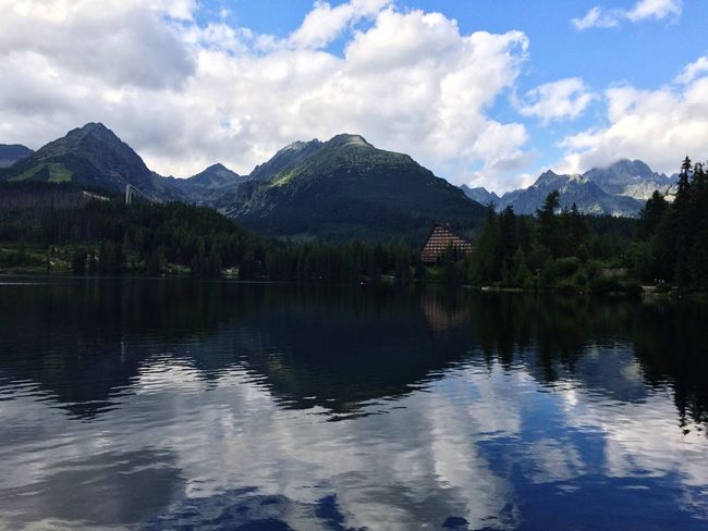 Štrbské pleso, Slovakia Strbske Pleso Slovakia Lake View Reflections Water Water Reflections Landscape Nature Forest Trees Blue Sky White Clouds Mountains Ski Resort  Ski Jump Hotel Peaks Hiking Walking Boating Holiday Tatra Mountains Tatry