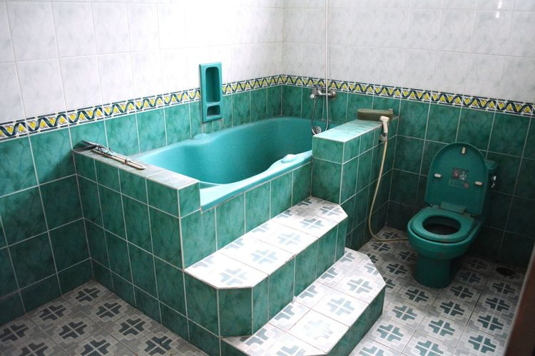 High angle view of bathtub at home