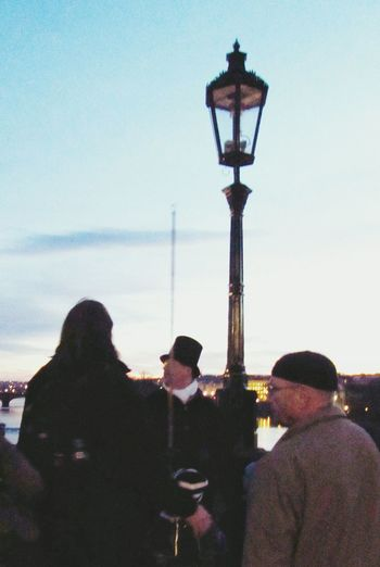 The Lamplighter on the Charles Bridge Prague Praha Top Hat