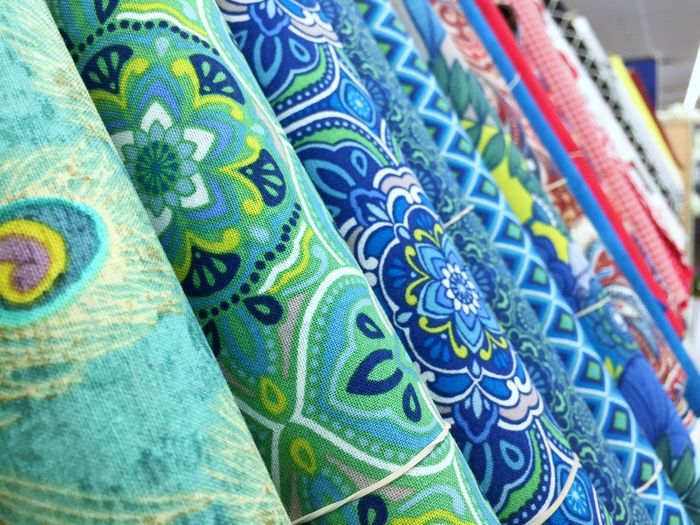 Colorful fabrics Fabric Store Texture Multi Colored Backgrounds Pattern Blue Textile Close-up