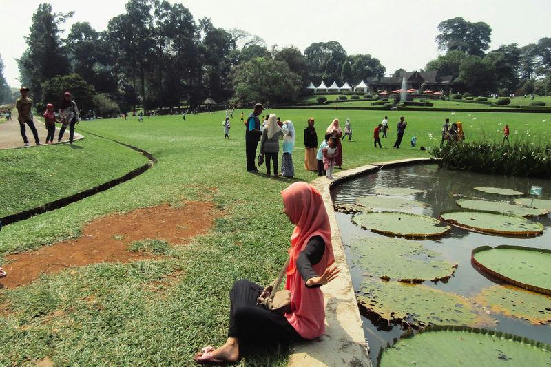 People walking on grassy field in park