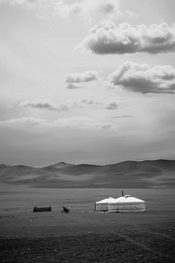 Mongolia Beauty In Nature Black And White Cloud - Sky Day Environment Land Mode Of Transportation Mountain Nature No People Nomadic Nomadic Life Non-urban Scene Outdoors Scenics - Nature Sky Tranquil Scene Tranquility Yurt Монгол улс гэр