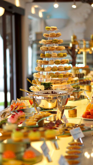 Macaron and dessert buffet line pretty and beautiful sweet