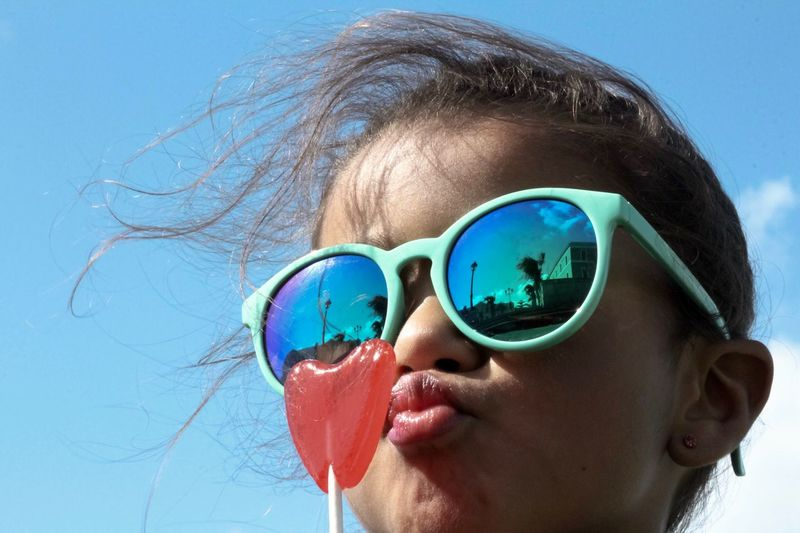 Heart Lollipop Like Heart Shape Valentine's Day  One Person Headshot Glasses Portrait Real People Leisure Activity Child Sunglasses Childhood Fashion Outdoors Day Moments Of Happiness