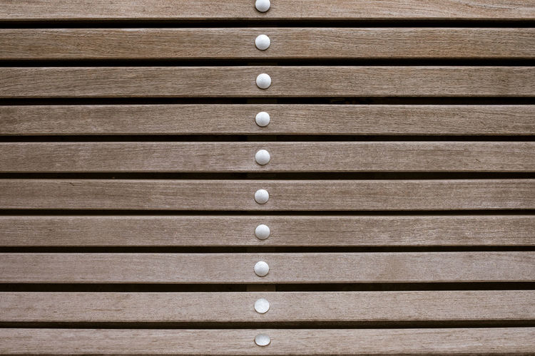 Backgrounds Pattern Full Frame Close-up In A Row No People Wood - Material Brown Textured  Repetition Security Protection Order Architecture Wood Striped Textured Effect Bench Outdoors Plank Side By Side Front View Built Structure City Knob