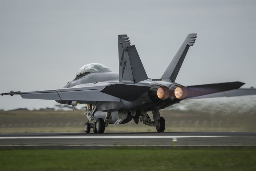 F/A18F Super Hornet RAAF Royal Australian Air Force Aerospace Industry Afterburner Air Force Air Vehicle Airplane Airport Runway Clear Sky Day Fighter Plane Flying Mid-air Military Military Airplane No People Outdoors Sky TakeOff Transportation