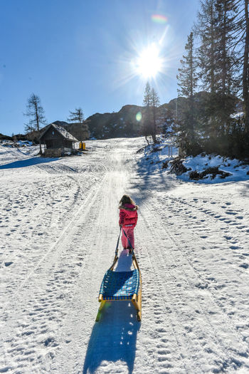 Girl is pulling snow sledge in ski resort wearing winter clothes. High mountain ski resort, vacation, holiday and sunny day mountain peaks. Alps Childhood Cold Temperature Girl Leisure Activity Lifestyles Moutains Nature One Person Outdoors Real People Resort Ski Sledding Sleigh Sleighing Slide Snow Snow Sledding Snow Sledge Snow Slide Sunlight Sunny Winter Winter