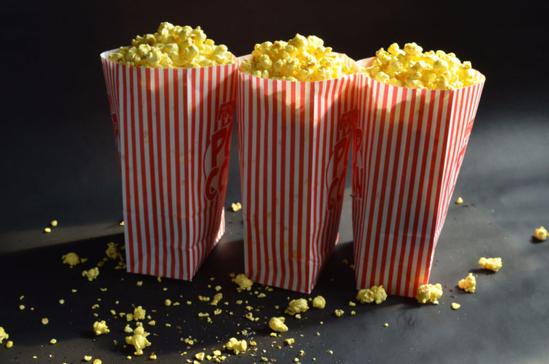 Popcorns in paper bags