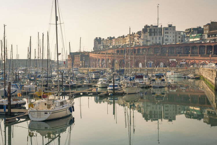 Ramsgate inner harbour Kent Ramsgate Royal Harbour Architecture Boat Building Exterior City Clear Sky Day Harbor Marina Mast Mode Of Transport Moored Nature Nautical Vessel No People Outdoors Reflection Sailboat Tranquility Transportation Travel Destinations Water Waterfront Yacht