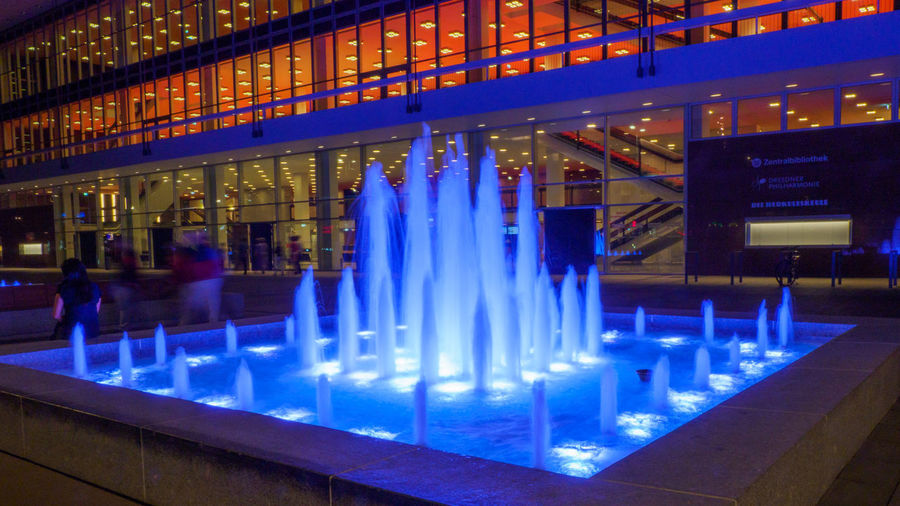Illuminated Fountain at Dresden Concert Hall Illuminated Night Architecture Built Structure Motion Flowing Water Long Exposure Fountain Concert Hall  City Nightphotography Vertical Red Light