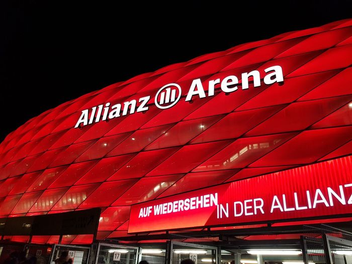Allianz Arena Soccer Stadium Football Bayern Red Building