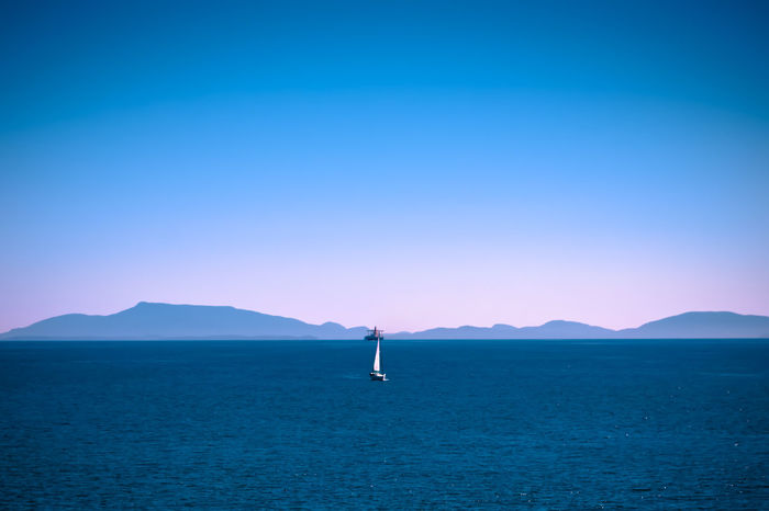 this photo was taken abourd the ferry between Vancouver and Vancouver island. Been There. Wide Open Spaces Ocean The Week On EyeEm Sea Water Sky No People Nikonphotography Outdoors Tranquility Tranquil Scene Nikon Boat Tanker Ship Clear Blue