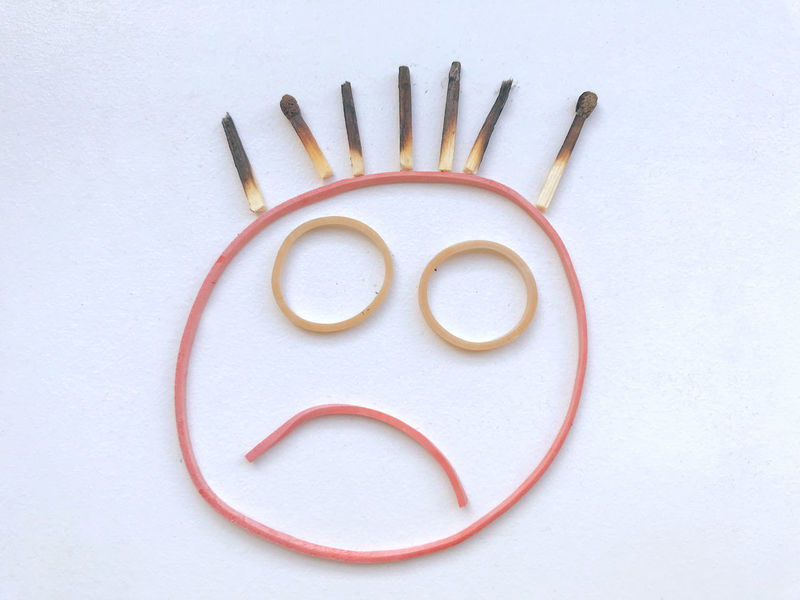 Emotions HEAD Negative Unhappy Burn Out Burned Out Concept Creativity Face Faces Fire Human Representation Matches No People Rubber Band Sad Sadness Still Life Symbol