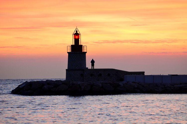 Lighthouse Sunset Silhouette Coastline Romantic Sky Atmospheric Mood Moody Sky