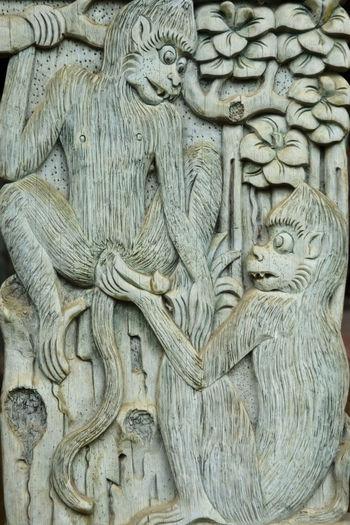 Indonesia, Bali, Ubud, Agung Rai Museum of Art - ARMA -, vertical reliefs of nature, monkeys Agung Rai Museum Architecture Arts And Crafts ASIA Bali, Indonesia Bas-relief Close-up Culture Day INDONESIA Monkeys Nature Motif No People Ubud, Bali Vertical