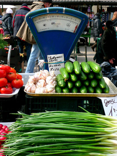 Abundance Beans Bio Food Cucumbers Display Food Foodie For Sale Fresh Garlic Fresh Produce Freshness Healthy Eating Living Well Market Stall Old-fashioned Scale Organic Outdoors Retail  Riga Central Market Ripe Scale  Tirgus Tomato