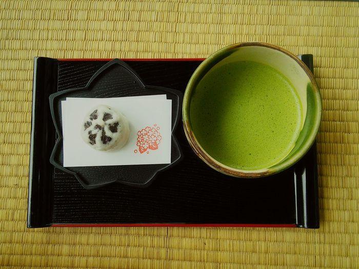 Close-up of matcha tea on table
