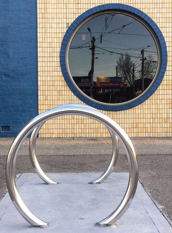 Circles Circles In Circles Brick Tiles Window Circular Window Bike Rack Urban Geometry Urbanphotography The OO Mission