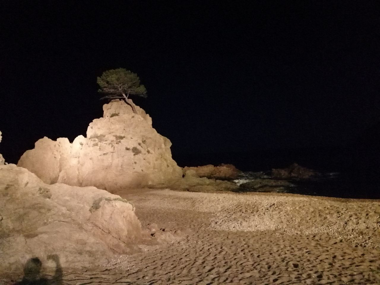 land, desert, sky, night, copy space, nature, no people, rock, tranquility, sand, landscape, scenics - nature, rock - object, beauty in nature, solid, environment, tranquil scene, clear sky, outdoors, rock formation, climate, arid climate